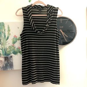 WHBM Striped Stretchy Cowl Neck Tank Top Size L